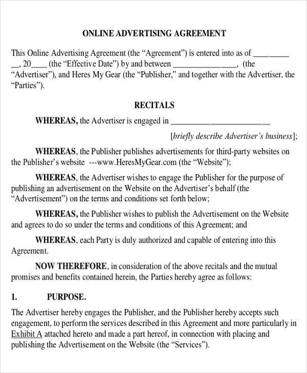 internet advertising contract agreement