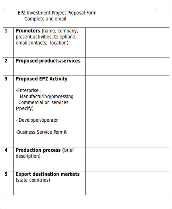 investment project proposal form