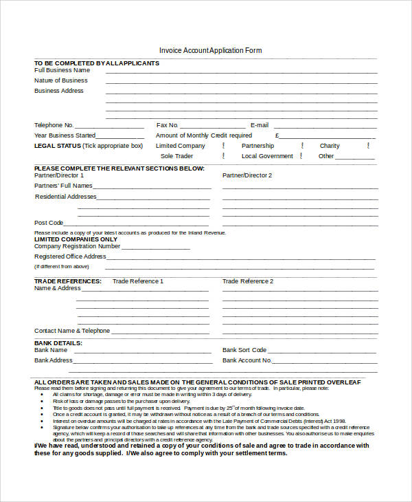 invoice account application form