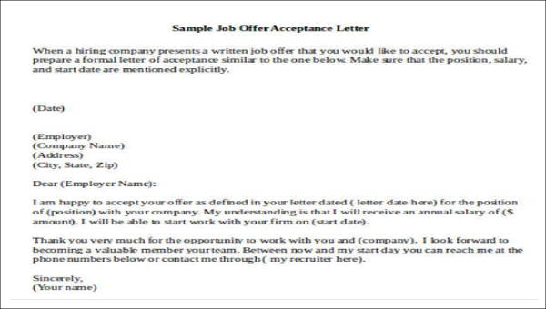 letter to accept job