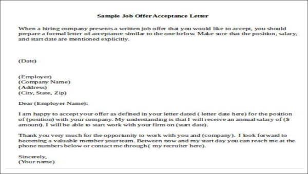 15+ Job Acceptance Letters