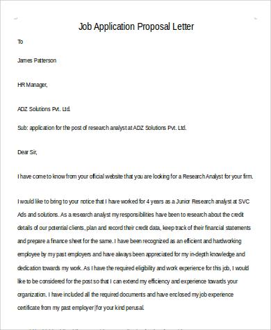 job application proposal letter