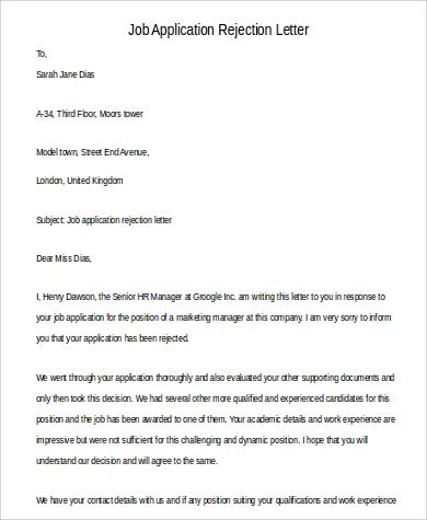 job application rejection letter1