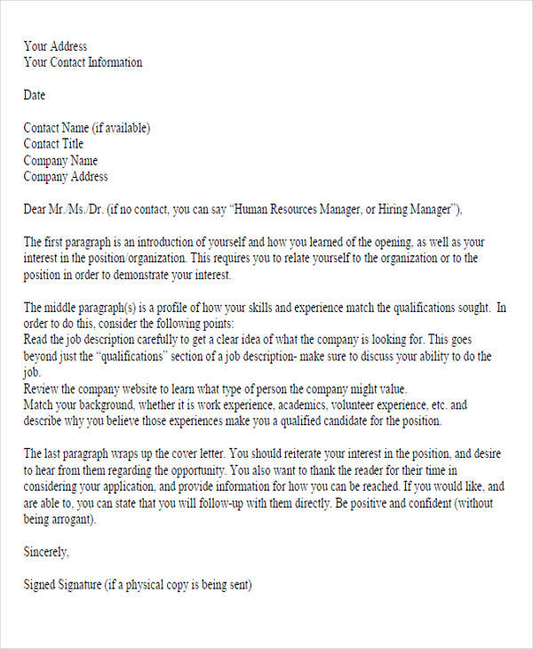 job application service letter