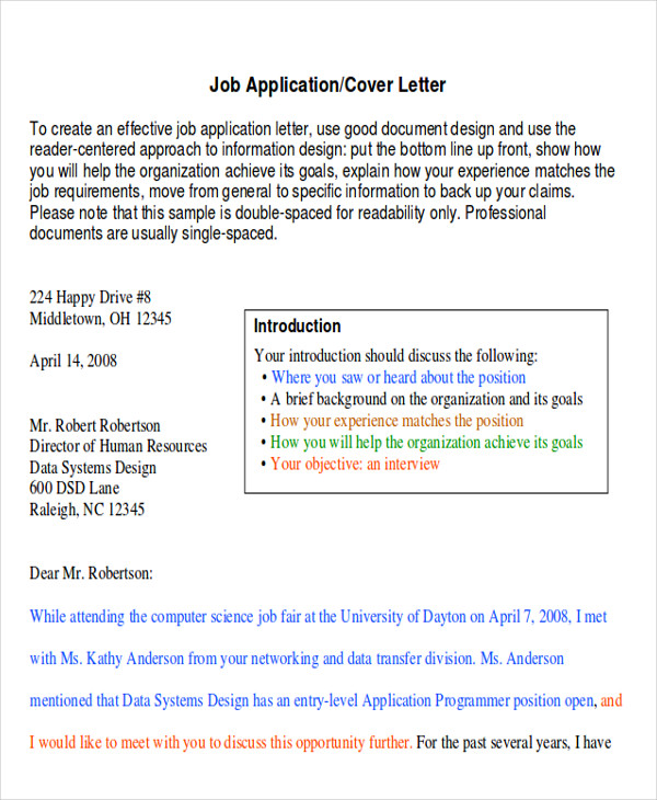 job apply application letter