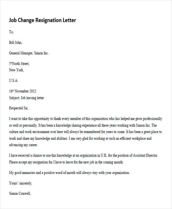 job change resignation letter1