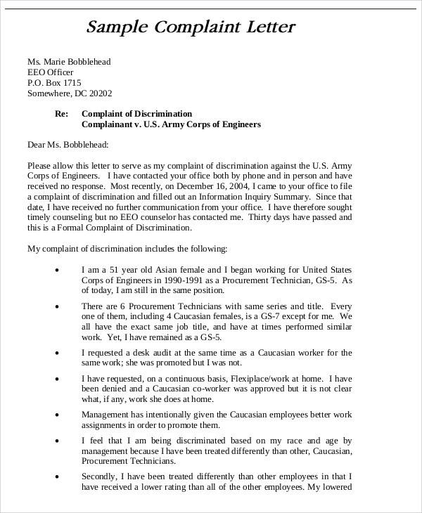 job interview complaint letter