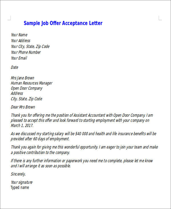 Job Offer Acceptance Letter Sample1  Accept Job Offer Email