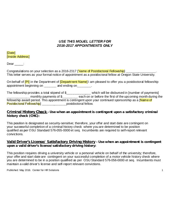 job offer appointment letter7