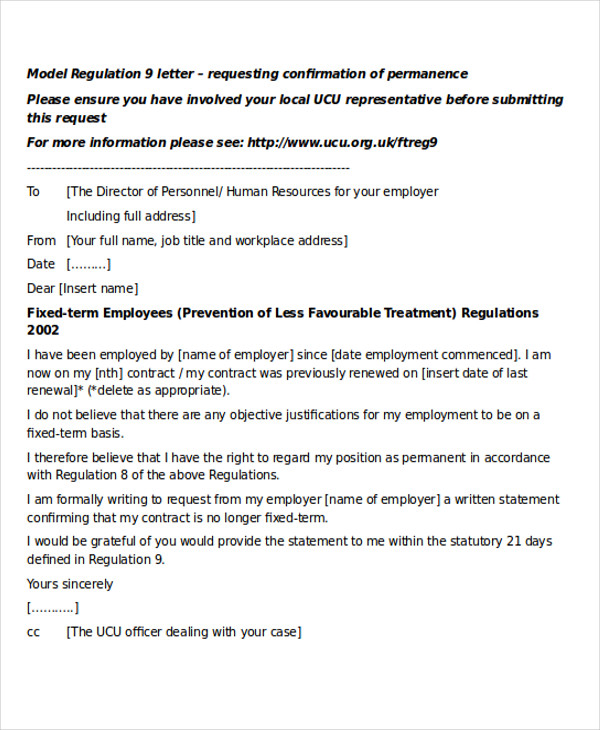 example letter of request for permanent position 28 letter formats sample templates 27795 | Job Permanent Request Letter