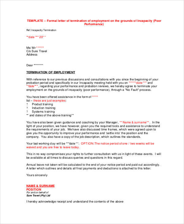 Employee Termination Letter Sample - Letter BestKitchenView CO