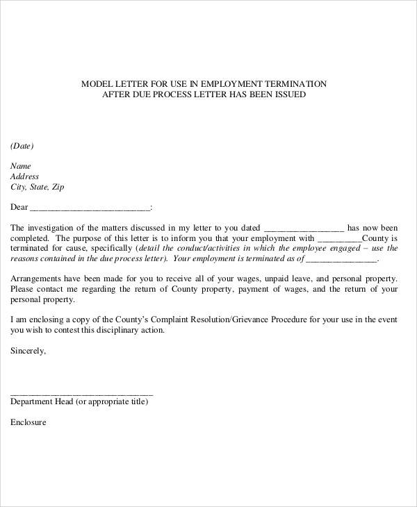 Job Termination Letter By Employee  Employee Termination Letter