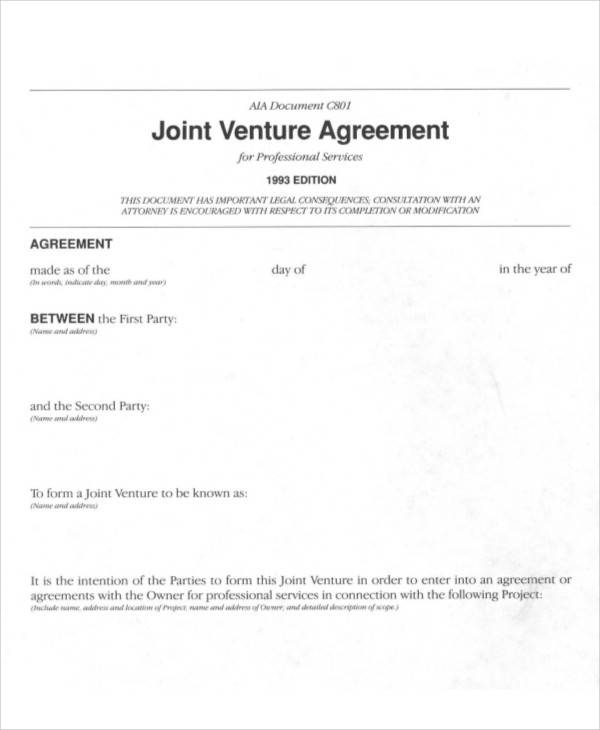 joint venture agreement example