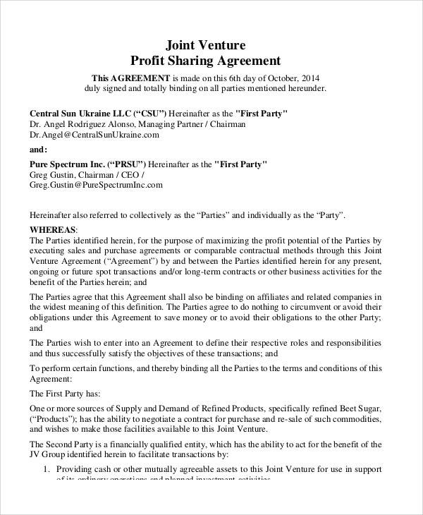 51 sample agreement samples sample templates for Profit sharing contract template