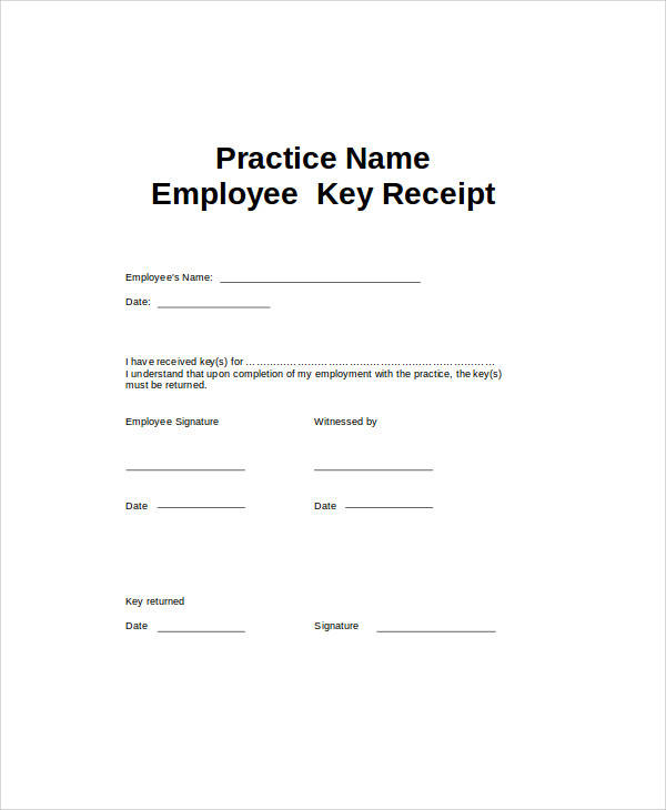 Sample Receipt Forms In Doc