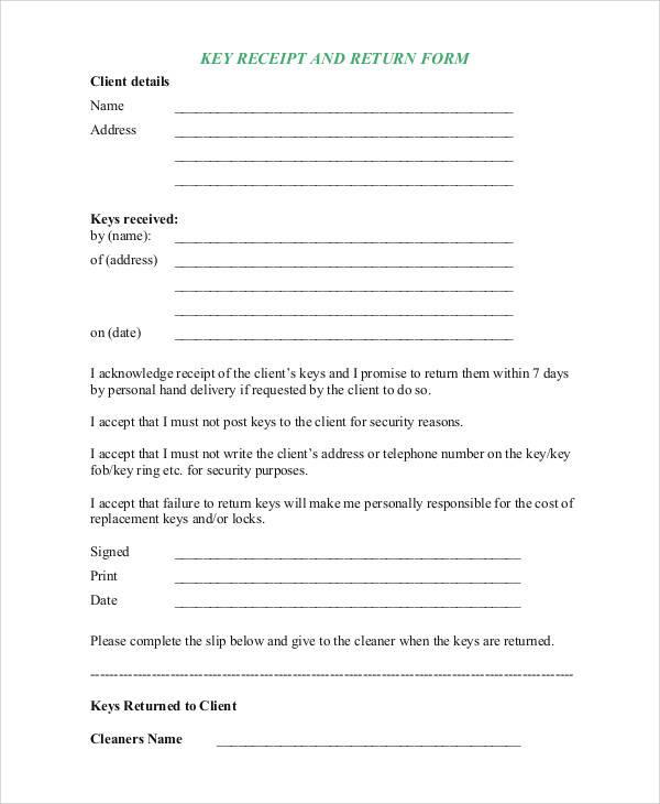key receipt and return form