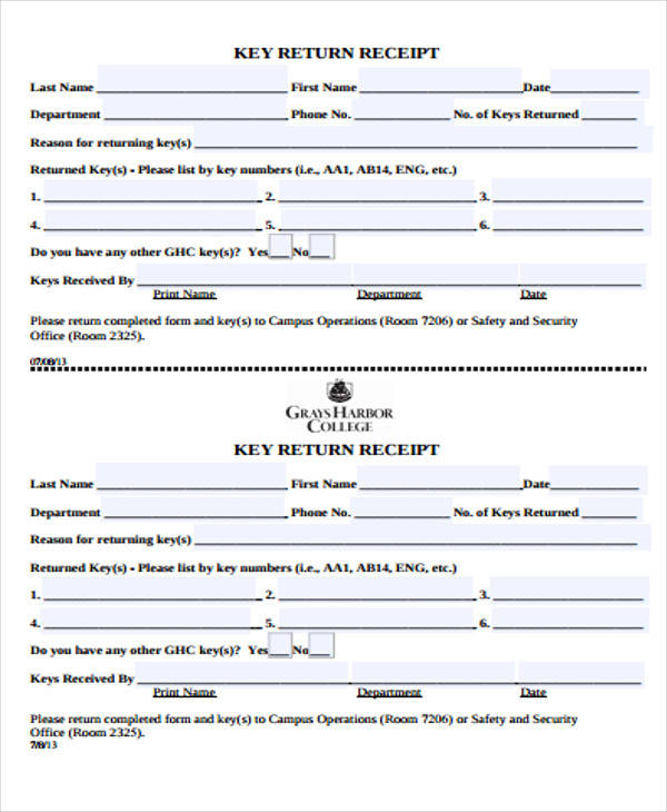 key return receipt form