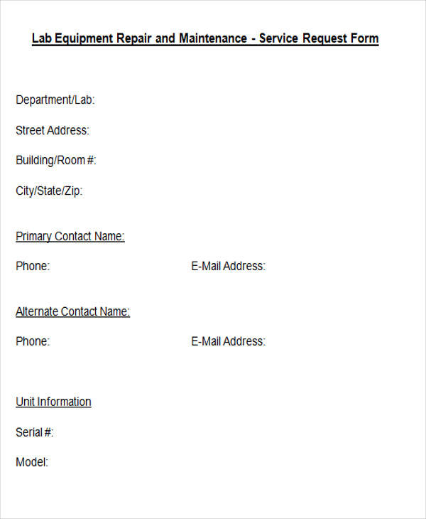 lab equipment maintenance form