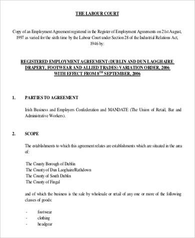 labour court registered employment agreement