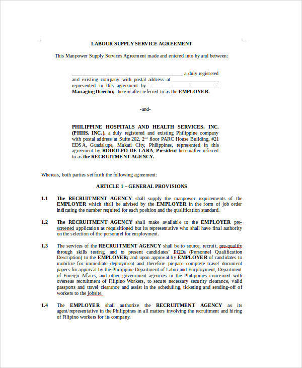 Sample Agreement For Labour Contract   Examples In Word Pdf