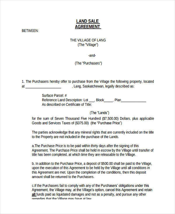 land sale agreement form3