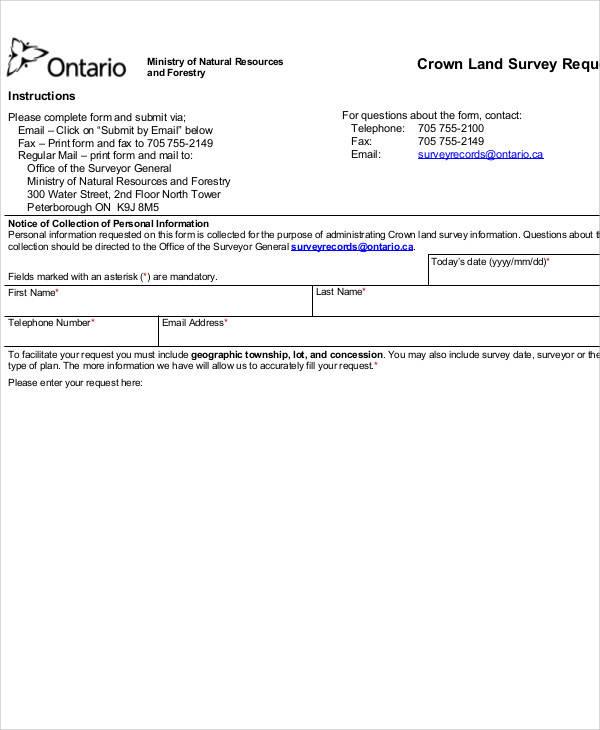 land survey request form