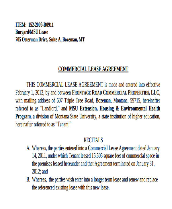 Commercial Agreement Format – Commercial Truck Lease Agreement