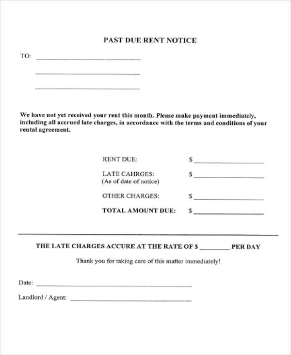 landlord late rent notice form