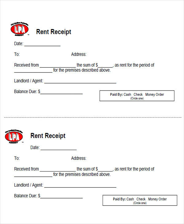 receipt for rent paid in cash