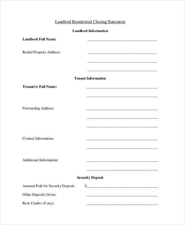 Free Statement Form