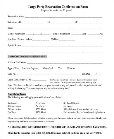 large party reservation confirmation form