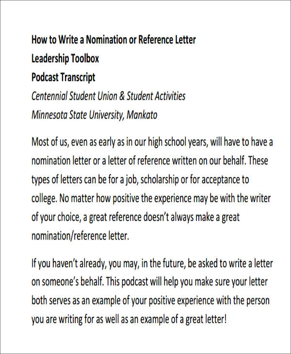 Sample Leadership Recommendation Letter   Examples In Word Pdf
