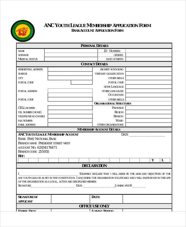 league membership application form