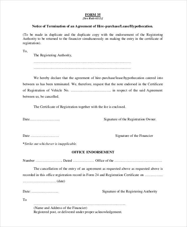 Basic Agreement Form – Lease Termination Form