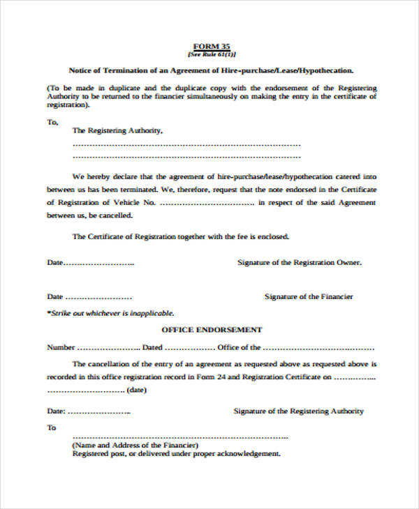 termination of hire purchase agreement template  What to Include in a Commercial Lease Termination Letter - 5 Samples