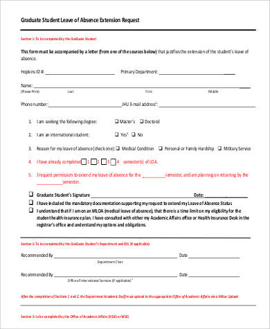 leave of absence extension letter form