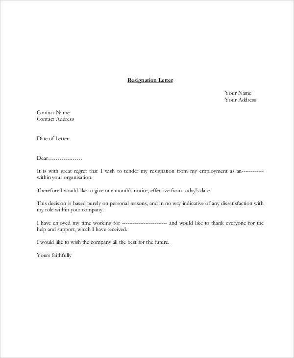 leaving job letter format