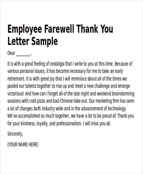 Sample Work ThankYou Notes   Examples In Word Pdf