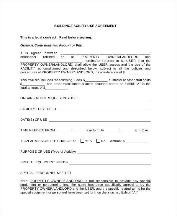 legal agreement contract sample