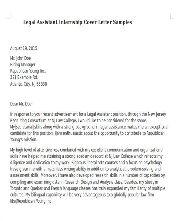 Judicial Clerkship Cover Letter. Cover Letter Sample Legal Legal