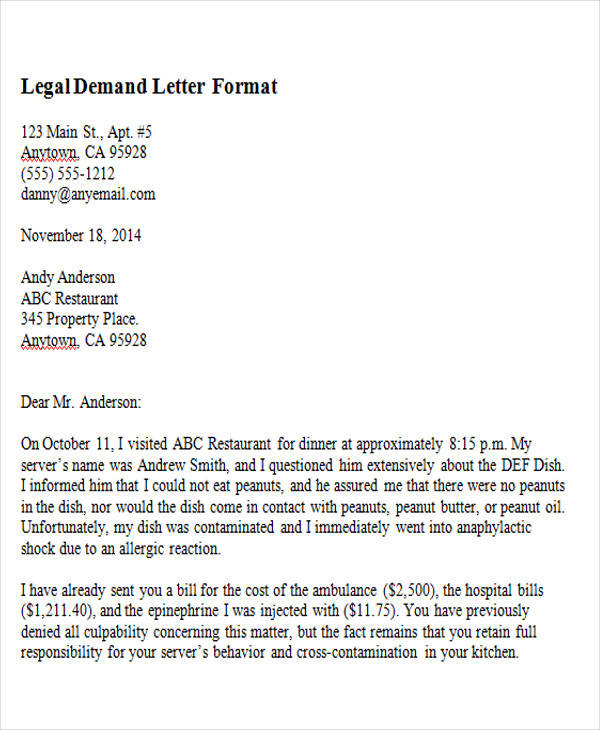legal demand letter format