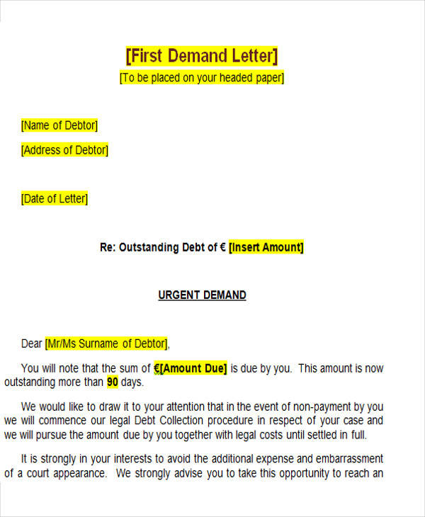 legal demand letter template