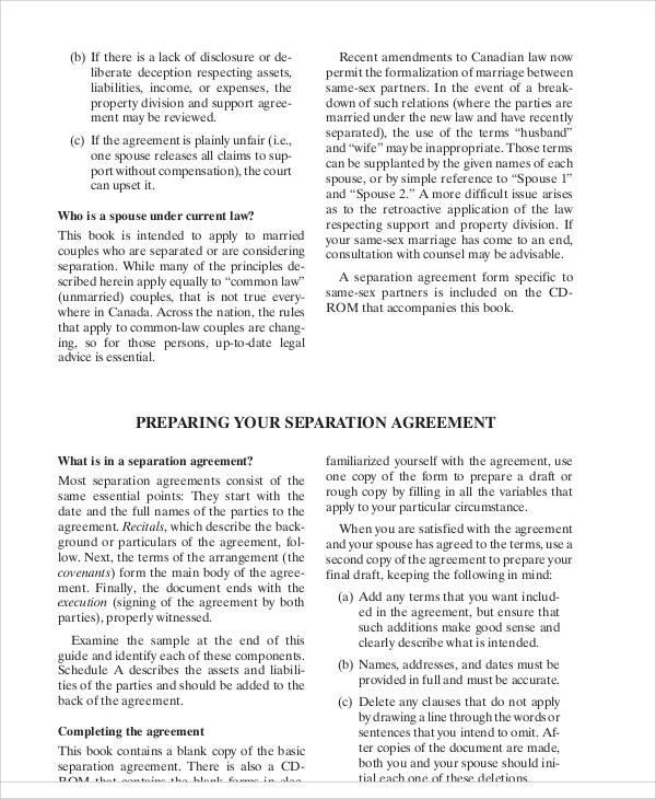 legal separation agreement