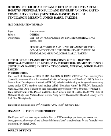 Letter Of Acceptance Tender Proposal