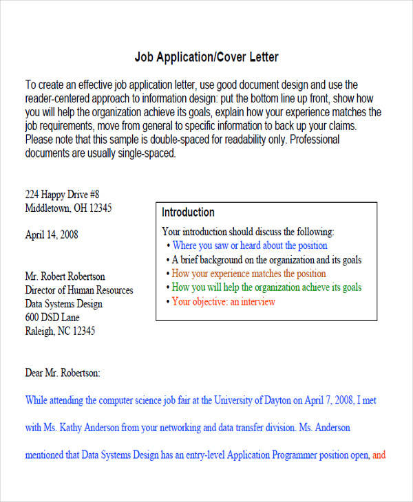 letter of intent for job application