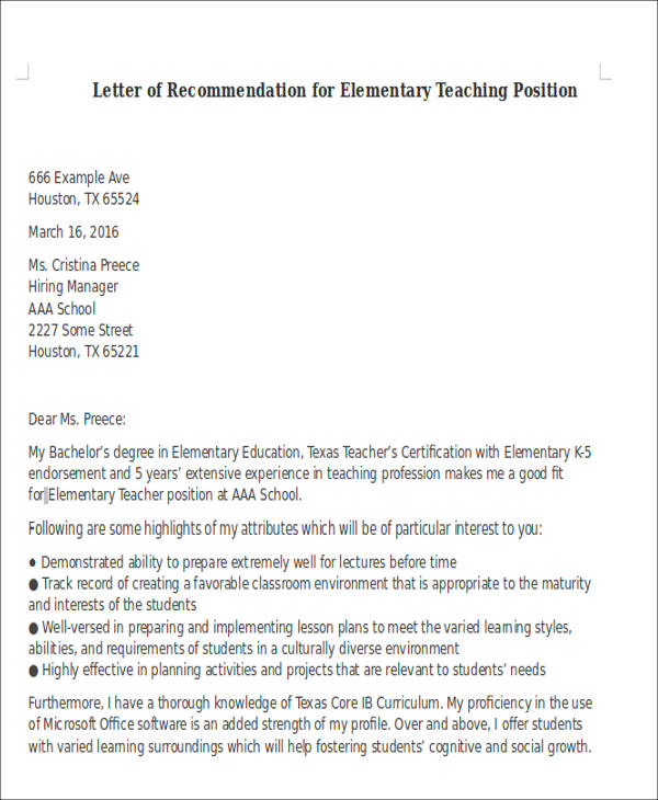 Sample Letter Of Recommendation For Teaching Position 6