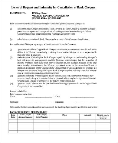 letter of request and indemnity for cancellation