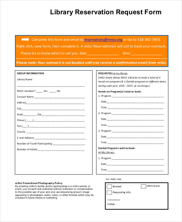 library reservation request form example