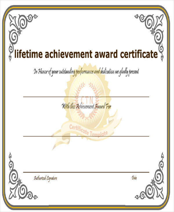 lifetime achievement award certificate