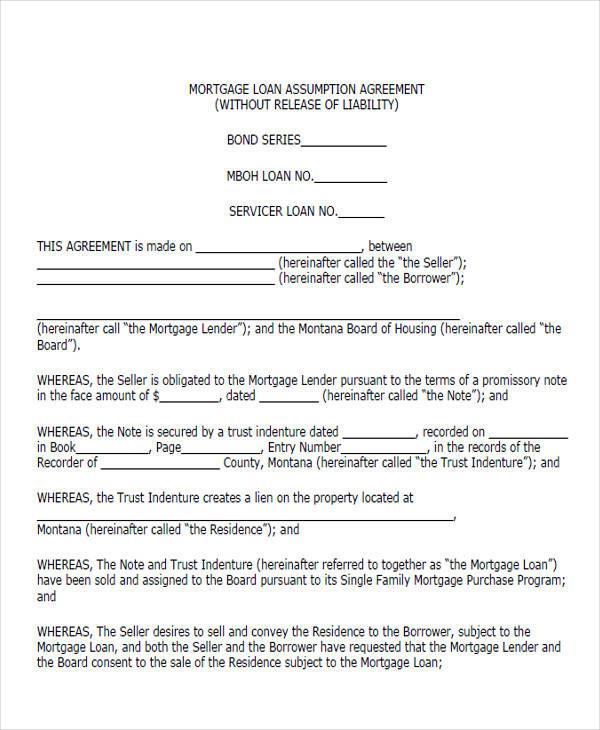 loan assumption agreement form